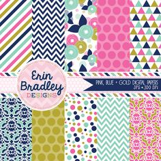 INSTANT DOWNLOAD PINK, BLUE & GOLD DIGITAL PAPER PACK PERSONAL & COMMERCIAL USE GRAPHICS