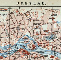 1894 German Antique City Map of Breslau / Wroclaw , Poland by bananastrudel