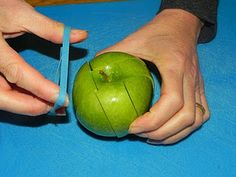 Another amazing idea.  Cut the apple and then put it back together with a rubber band.  No more brown apples.