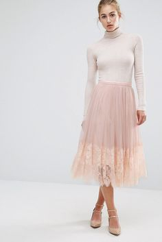A Miss Selfridge mesh midi prom skirt: 7180609 + turtleneck = ✨