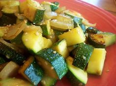 Sesame Zucchini  3 small zucchini, large dice  1 small onion, small dice  2 tablespoons vegetable oil  1 tablespoon sesame seeds  1 tablespoon soy sauce  1/2 teaspoon salt  Directions  Saute zucchini and onion in oil for 4 minutes.  Add remaining ingredients, toss to mix.