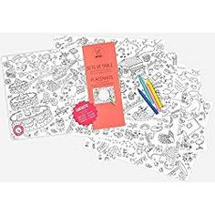 Contains 24 mats for hours of coloring fun. Ideal for dinners, parties & playdates, as desk mats or frame-able posters. Kids can choose their favorite theme. Desk Mat, To Color, Pen Sets, Dinners For Kids, Neon Colors, Bunt, Prints, How To Make, Coloring