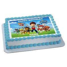 Paw Patrol Inspired Personalized edible image cake by trEATmeCards, $8.00