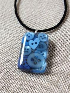 Blue Button Resin Pendant Necklace - Seaside Blue - Heart Button £10.00