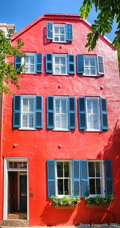 French Quarter Home, A splash of color in old Charleston.