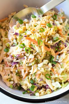 Buffalo Blue Cheese Coleslaw Recipe - Love buffalo wings? You are going to go crazy over this zesty buffalo flavored cole slaw.