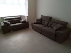 Halifax 2 and 3 seater combination is microfibre material. Adjustable headrests and extendable armrest to turn into an extra single seat. 2 seater sofa with manual sliding seats and 3 seater sofa with electric reclining seats. Delivered to our client in Harrow. Modern Sofa, Modern Bedroom, Sofa Bed Mattress Cover, Leather Bed, 2 Seater Sofa, Corner Sofa, Sofa Design, Contemporary Furniture, Sofas