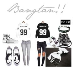"""""""Bangtan ♡"""" by yukyum ❤ liked on Polyvore featuring Charlotte Russe, ABOKI, LØMO, Forever 21, Lovers + Friends, Converse, kpop, bts and bangtan"""