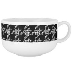 Paws-for-Soup Houndstooth Mug (Black) - kitchen gifts diy ideas decor special unique individual customized