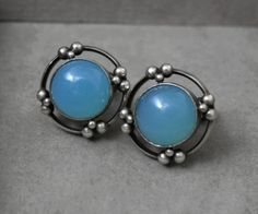 Vintage Georg Jenson Earrings with Blue Calcedony/Onyx in Sterling Silver.