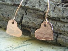 Hammered Copper Tiny Heart Earrings by KottageKreations on Etsy, $13.00