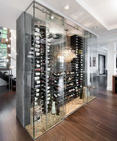 Why not create a wine display as a focal point if you have the room? Glass Case Bottle Display Storage Idea Wine Cellar Custom Design Home Ideas Glass Wine Cellar, Home Wine Cellars, Wine Cellar Design, Wine Glass, Wine Bottles, Bar Design, House Design, Wine Design, Shelf Design