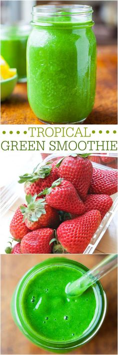 Healthy Smoothies Tropical Green Smoothie (vegan, GF) - Tastes like a Pina Colada! Sweet, creamy, healthy and gives me more energy than coffee! Green Smoothie Vegan, Healthy Green Smoothies, Green Smoothie Recipes, Juice Smoothie, Smoothie Drinks, Strawberry Smoothie, Yummy Drinks, Healthy Drinks, Healthy Snacks