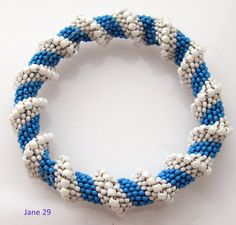 Ocean Sea Blue and White Cellini Spiral Beadweave Bead Woven Bracelet Cuff Your knuckles must not measure over 9 inches in the widest part