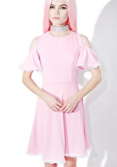 Gum Drop Flare Dress cuz yer the sweetest of them all, bb. This super kawaii flare dress features open cut shoulders with ruffle sleeves, a skater skirt silhouette, pretty lace hem, and a hidden back zip closure.