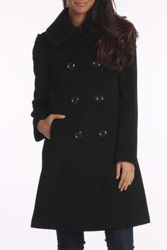 Ellen Tracy Double Collar Long Coat In Black - Beyond the Rack!  December Birthday....