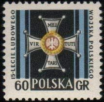 Znaczek: Virtuti Military Cross (Polska) (15th anniv.Polish Peaple's Army) Mi:PL 1070,Sn:PL 824,Pol:PL 925