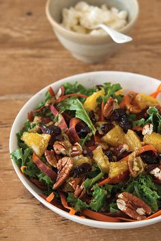 Salade de chou Kale carottes orange cranberries