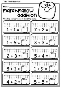 Kindergarten Math Worksheets. Number Line Addition. Distance Learning