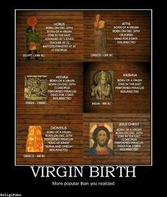 'Maagdelijke geboorte' het Christendom is daar niet uniek in.