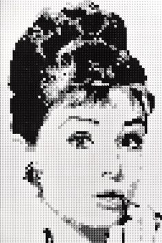 """Lego mosaic of Audrey Hepburn as Holly Golightly in 'Breakfast At Tiffany's'. Mosaic measures 20""""x30"""". Available to buy at www.oxfordbrickart.com"""