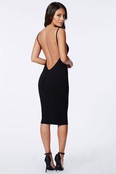 Low Open Back Dress in Black