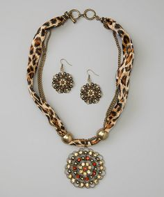 Another great find on #zulily! Gold Wild Leopard Scarf Pendant Necklace & Drop Earrings #zulilyfinds