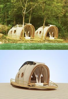 Nomadic Resorts Looper is a luxury pod inspired by the form of a caterpillar. The orthogonal structure uses a small volume of structural material to enclose a large internal volume in translucent fabric. The recycleable membrane flysheet lasts for decades, withstands the harshest environmental conditions, emits no volatile organic compounds and glows like a firefly at night.