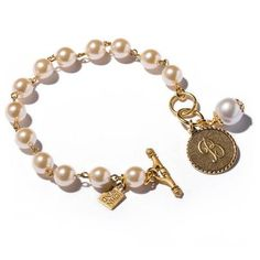 Pearl Bracelet with Mini Initial Coin