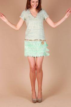 Tweed jurk Magnolia | aqua | ELISABETTA FRANCHI | Little Soho