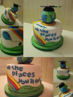 Oh the Places you'll go Graduation Cake 5th Grade Graduation, Pre K Graduation, College Graduation Parties, Graduation Theme, Kindergarten Graduation, Grad Parties, Graduation Gifts, Graduation Ideas, Cupcakes