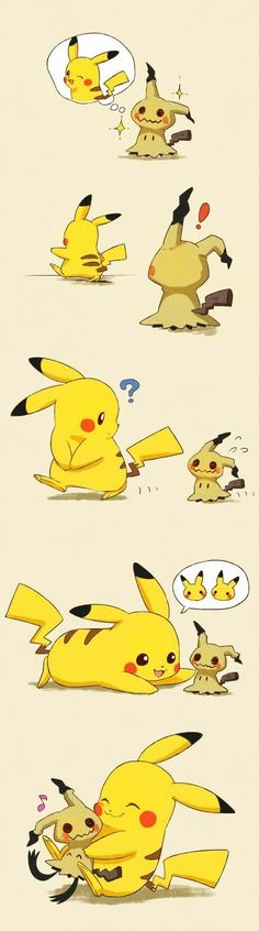Mimikyu, Pikachu, cute, comic, text; Pokémon