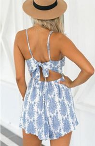 Futurino Womens Floral Print Strappy Cross Backless Pleated Romper Playsuit