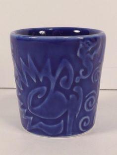 Starbucks Cobalt Shot Glass blue Abstract Tiki Tribal Relief Mermaid Siren Rare #Starbucks