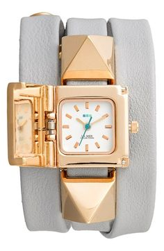 La Mer Collections 'Cairo' Pyramid Stud Leather Wrap Bracelet Watch, 23mm available at #Nordstrom