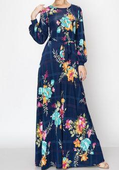 Navy Window Pane Floral Long Maxi Dress  #modestfashion #maxidress #mothersday