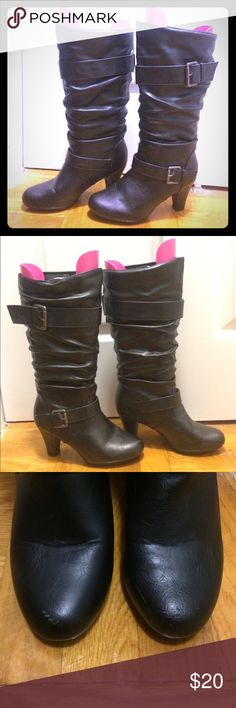 "Black boots Partial -synthetic upper-synthetic sole. 7.5M. Hits below the knee. Slip on. From bottom of heel to top is 15"". Heel is 2.5"".  Good condition with few marks on the front toes as seen in photos. Shoes Heeled Boots"