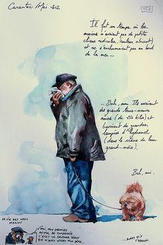 Même les vieux marins s'enrhument... / Carantec, Bretagne, France. / Carnet de voyages. / Sketchbook. / Aquarelle. / Watercolor. / By Yann Lesacher, dit Yal, mai 2012.