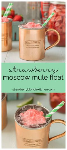 No need to wait for summer to enjoy this delicious and refreshing Strawberry Moscow Mule Float. Made using homemade strawberry vodka and strawberry sorbet, you're sure to love this new twist on a classic! @smir   Strawberry Blondie Kitchen