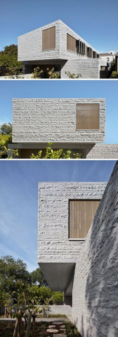e architecture have recently completed a new three-storey house in Melbourne, Australia, that features 260 tons of granite which make up the building's skin. Concrete Architecture, Modern Architecture Design, Minimalist Architecture, Facade Design, Exterior Design, Design Design, Urban Design, Modern Small House Design, Modern House Facades