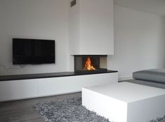 Fireplace and TV concept Living Room Wall Units, My Living Room, Home And Living, Living Room Decor, Home Fireplace, Modern Fireplace, Fireplace Design, Cladding Design, Living Room Inspiration