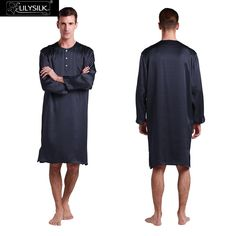 d00ec881e3 Lilysilk Real Silk Robes Men Bathrobe Chinese Kimono Sleepwear 22 Momme  Navy Blue Luxury Nightshirt Dressing