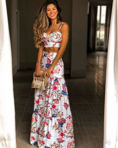 Sexy V Neck Bare Back Off-Shoulder Printed Colour Vacation Maxi Dress Suit Dress Suits, Dress Up, Tank Dress, Love Fashion, Fashion Looks, Mode Hippie, Ethno Style, Mode Style, African Fashion