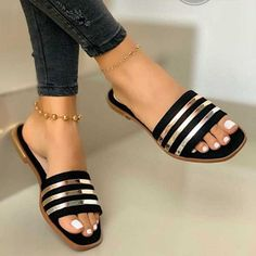 Heel Height Type:Flat Heel Upper Material:Leather Sandals Style:Slide Sandals Shoes Style:Slip-On Heel Height:Flat Fashion Slippers, Fashion Sandals, Leather Slippers, Leather Sandals, Womens Slippers, Womens Flats, Striped Sandals, Low Heel Sandals, Women's Sandals