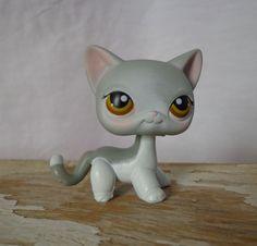 LITTLEST PET SHOP (LPS) #138 Gray/White Short Hair SIAMESE Cat w/Hazel Eyes  #Hasbro