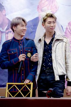 Jimin and Rap Monster! Minjoon bride and groom! ❤ BTS at the Omokgyo Fansign #BTS #방탄소년단