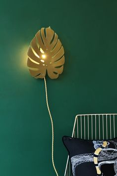 Black Parrots Small Brass Cheese Plant Wall Light