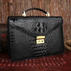 Gentleman Crocodile Shoulder Messenger Backpack Black Bag at www.pilaeo.com