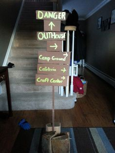 Indoor camping signs