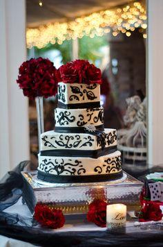 Black white red damask wedding cake